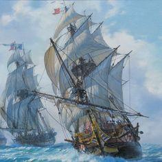 Seascape landscape artwork by Alexander Shenderov par ShenderovArt Ship Paintings, Seascape Paintings, Asesins Creed, Ocean At Night, Old Sailing Ships, Ghost Ship, Art Original, Nautical Art, Tall Ships