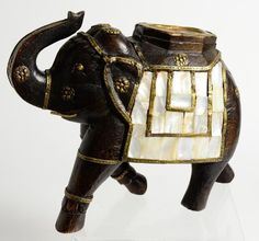 Vintage Collectible Decorative Wood Mother Of Pearl Brass Roayl Indian Elephant #vintage #crafts