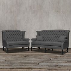 This inspirational living room set includes sofa and loveseat which features wingback, high tufted back, dark charcoal grey linen upholstery, button tuft design, flame retardant polyurethane foam, solid birch wood frame, fire retardant foam cushioning and silver nail head trim for a touch of elegance.