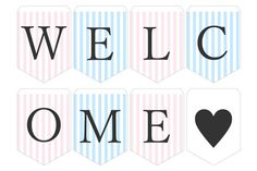 ガーランド無料テンプレート:Stripe_pink×blue_Welcome|結婚式ムービーchouchou(シュシュ)
