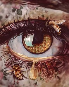 Image discovered by Andrea. Find images and videos about art, eye and bee on We Heart It - the app to get lost in what you love. Creation Image, Creation Art, Art Sketches, Art Drawings, Colorful Drawings, Bee Art, Surreal Art, Art Inspo, Amazing Art