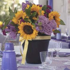 Buy flower pots for rehearsal dinner centerpiece- easy, reusable, cheap!