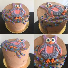 Chocolate raspberry Owl on a tree cake