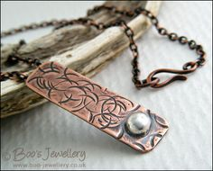 RESERVED - Textured copper pendant with Sterling silver nugget