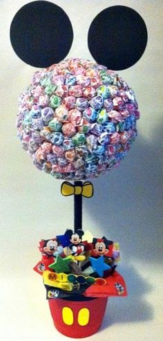 Mickey Mouse Lollipop Tree (custom made) Party Candy Buffet,Station,Centerpiece or gift. $67.00, via Etsy.