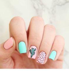 Simple & Easy Gel Polish Nail Art Design & Ideas for 2018 Gel-Nagellack-Kunst für 2018 Cute Summer Nail Designs, Cute Summer Nails, Spring Nails, Nail Summer, Summery Nails, Summer Nails 2018, Summer Design, Cute Designs, Bright Nails For Summer