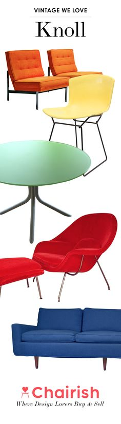 The Knoll Company has made the home decor world a better place by collaborating with and manufacturing the goods of furniture design's most beloved figures. Whether it's Bertoia, Gehry, Saarinen, or Nakashima, Knoll has worked with them all. Shop Chairish for authentic Knoll furniture and decor.