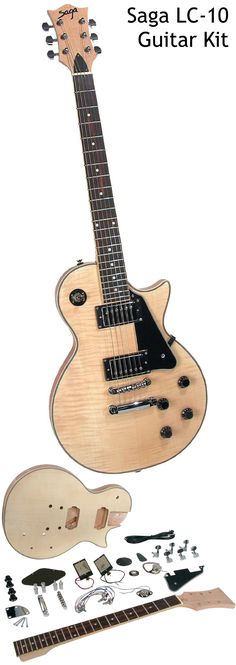 Saga LC-10. This is easily one of the most popular electric guitar kits on the market. It was chosen by GuitarSite.com as one of the best Electric Guitar Kits to Build - see a detailed guide at http://www.guitarsite.com/electric-guitar-kits/