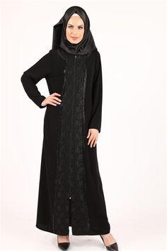 Moda Şems Dantelli Taşlı Ferace Siyah 5107