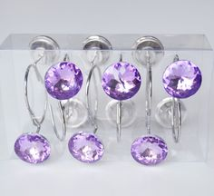 Shower Curtain Hooks Rings - Purple Glass Cute Decorative Crystal Shiny Gems Bathroom Bath Gift - Set of 12 Shower Curtain Hooks, Shower Curtains, Bathroom Bath, Bathroom Ideas, Purple Glass, Bath Decor, Shades Of Purple, Beautiful Homes, Gems
