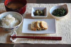 Japanese Breakfast Menu: Steamed Rice  Miso Soup Tamagoyaki Hourensou No GomaaeTsukemono (pickled vegetables) if you want