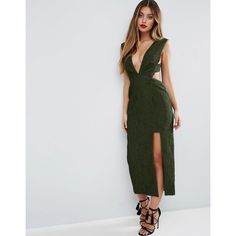 ASOS Deep Plunge Croc Midi Dress (147 AUD) ❤ liked on Polyvore featuring dresses, green, plunge-neck dresses, cut out midi dress, zip dress, mid calf dresses and green dress