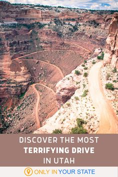 Feeling brave? Drive along the beautiful White Rim Road in Canyonlands National Park, Utah. The road is rough and narrow with hairpin turns and no guardrail. You must have a four wheel drive vehicle and be aware that a tow can be quite pricey. However, it's the scenic adventure of a lifetime. | Thrills | Bucket List | Explore | Extreme Drives Beautiful Places In America, Oh The Places You'll Go, Places To Visit, West Road, Canyonlands National Park, Hidden Beach, Winding Road, Outdoor Stuff, Road Trip Usa