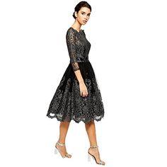 c240d64c9032f Damen Ballkleider Abendkleid Lang Stickerei Brautjungfer Cocktailkleid  Langes Kleid Schwarz (XL)
