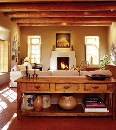 Santa Fe Living Room - Love this use of white and warm colors