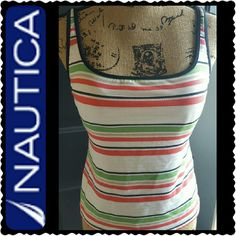 Nautica Tank Top Nautica Tank Top with Built In Bra, Striped Design in Polyester Spandex Material, Mint Condition Nautica Tops Tank Tops