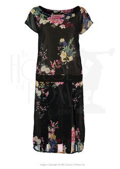 20s Peony Queen Chiffon Dress & scarf
