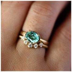 """Gorgeous ring set by @yasukoazumajewelry, love that incredible Paraiba tourmaline. Such a fab color """