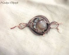 Copper brooch Wire wrapped brooch Sweater by ChervoniKoraliArt