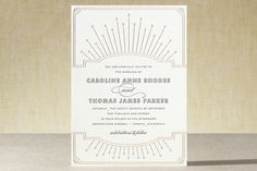 Modern Deco Letterpress Wedding Invitations by Vel... | Minted