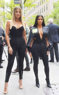 Kim Kardashian & Khloe Kardashian from The Big Picture: Today's Hot Photos  Fierce and Fabulous! The sister duo is spotted attending the 2017 NBCUniversal Upfrontin New York City. #cluboutfits