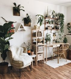 I am slightly crazy about mounted staghorn ferns. - Vintage Bohemian Home Home Office Design, Home Office Decor, Home Decor, Home Design, Room Interior, Interior Design Living Room, Room Ideas Bedroom, Bedroom Decor, Deco Studio