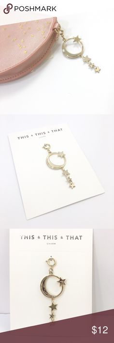 Lucky Charm You can never have enough good luck! Let this dangling moon and star be your lucky charm. Clip it to your key ring, back pack, or to one of the beautiful Star Dusted pouches in my closet. Light gold tone. NWT Anthropologie Accessories