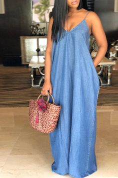 Roaso Fashion V Neck Blue Denim Floor Length Dresses