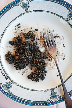 This Croatian risotto gets its deep color from the addition of cuttlefish or squid ink.