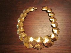 Napier Necklace  Gold Tone Metal Hand Hammered by HeartoftheSouthwest on Etsy
