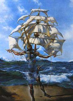 Framed Print - Salvador Dali Man and Ship in the Ocean (Painting Picture Poster) Magritte, Pablo Picasso, Digital Art Illustration, L'art Salvador Dali, Salvador Dali Paintings, Jean Arp, Fantasy Paintings, Art Moderne, Surreal Art