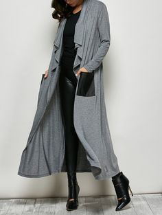 SHARE & Get it FREE   PU Leather Pocket Longline CoatFor Fashion Lovers only:80,000+ Items • New Arrivals Daily • Affordable Casual to Chic for Every Occasion Join Sammydress: Get YOUR $50 NOW!