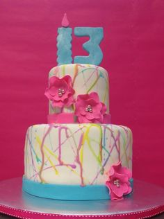 Girly Paint Splatter Cake