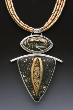 Pendant   Grace Stokes.  Sterling Silver & Polymer Clay. wonderful textures and color palette
