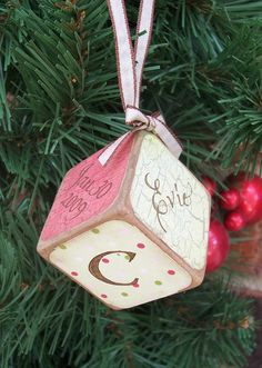 Vintagestyle baby block ornament by paintjar on Etsy