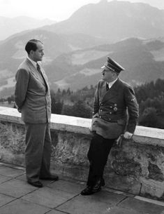 Albert Speer & Adolf Hitler on the Berghof terrace.  Speer escaped the noose at the Nuremburg Trials.  Speer was Minister of Armaments.