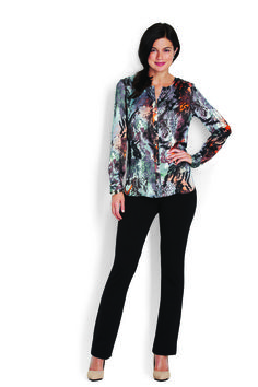 Washed Satin Button Front Tunic & Classic Ponte 5 Pocket Pant http://www.myjockeyp2p.com/wprice