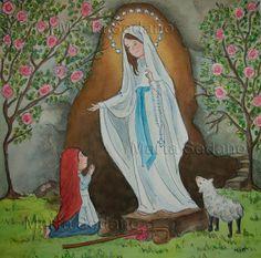 Virgen de Lourdes ilustrated by Marta Sedano