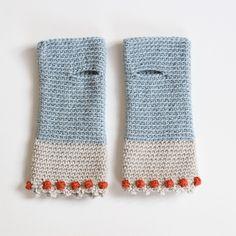 crochet / original wrist worms, wool, Dotty Blue by Sandra Juto