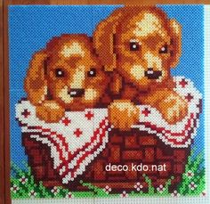 Puppies hama perler beads by Deco. Melty Bead Patterns, Pearler Bead Patterns, Perler Patterns, Beading Patterns, Hama Beads Disney, Hama Mini, Perler Bead Art, Perler Beads, Motifs Perler