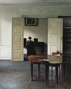 """""""An Interior with a Woman Playing Piano"""" by Vilhelm Hammershøi,1910."""