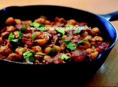 Cuban Crawfish Garbanzos recipe available in my cookbook New Orleans con Sabor Latino: The History and Passion of Latino Cooking