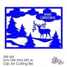 Christmas Deer Card Reindeer New Year Хмаs Noel (svg, dxf, ai, eps, png) Vector ClipArt Cut file, Diecutting Silhouette Cameo EasyCutPrintPD