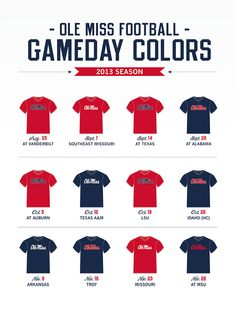 2013 Ole Miss football gameday colors. Kick off is just days away!