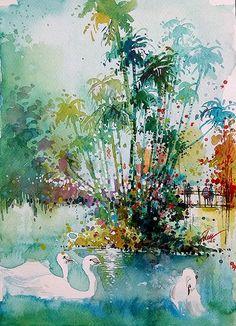 Trois cygnes à aquarelle • jardin botanique de Singapour avec gouache • A4 • 8,3 x 11,7 pouces • art print
