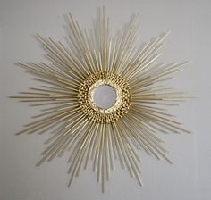 Faux Finished Wood (To Look Like Gold Metal) Custom Made 27in Starburst Sunburst Mirror, $124 by 'SamJenArts' on Etsy.Com