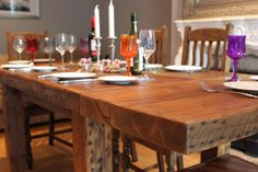 reclaimed wood dining table by the Moss range, handmade in England using salvaged timber