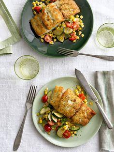 seared grouper with corn zucchini and tomato saute