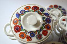 Vintage Colorful Ceramic Soup Pots Set of 8 Flower and Butterflies Japan    Mini pots o plenty! - 2 H x 5 diameter  - excellent vintage condition -