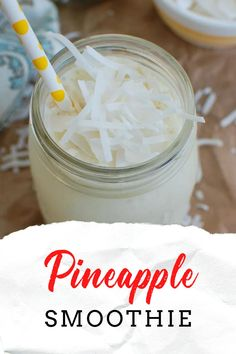 Smoothie Recipes For Kids, Healthy Smoothies, Drink Recipes, What's For Breakfast, Quick And Easy Breakfast, Frozen Pineapple, Pancakes And Waffles, Delicious Dinner Recipes, Shredded Coconut